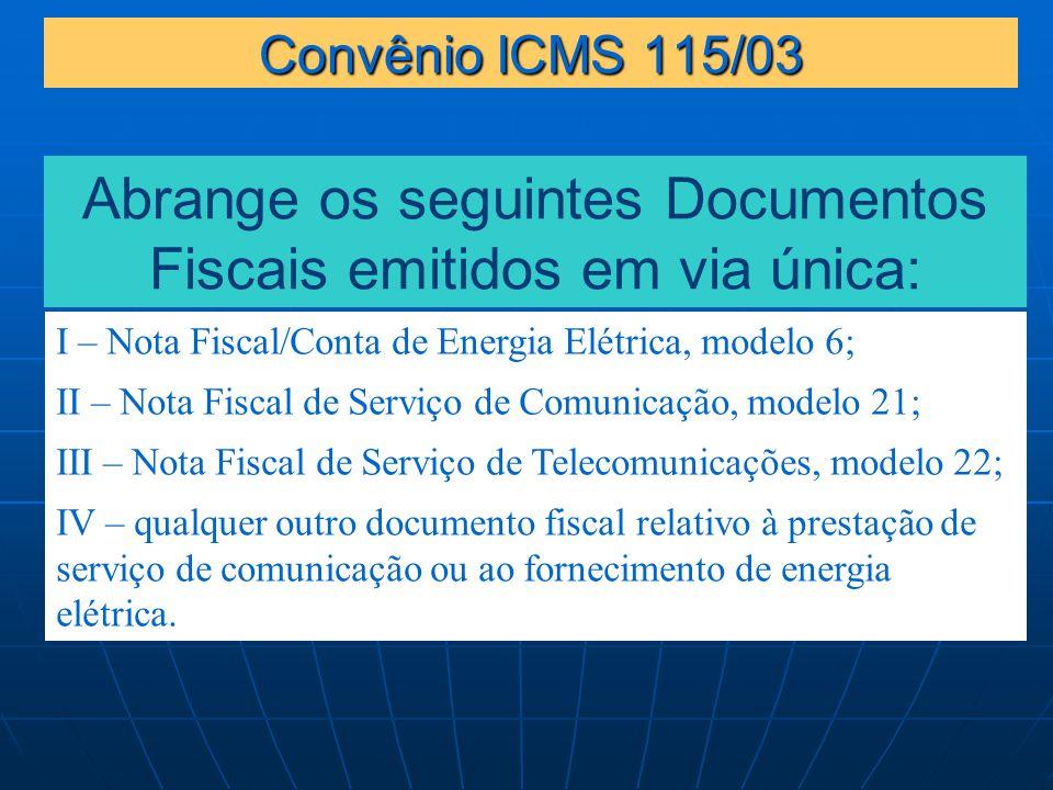 Abrange os seguintes Documentos Fiscais emitidos em via única: