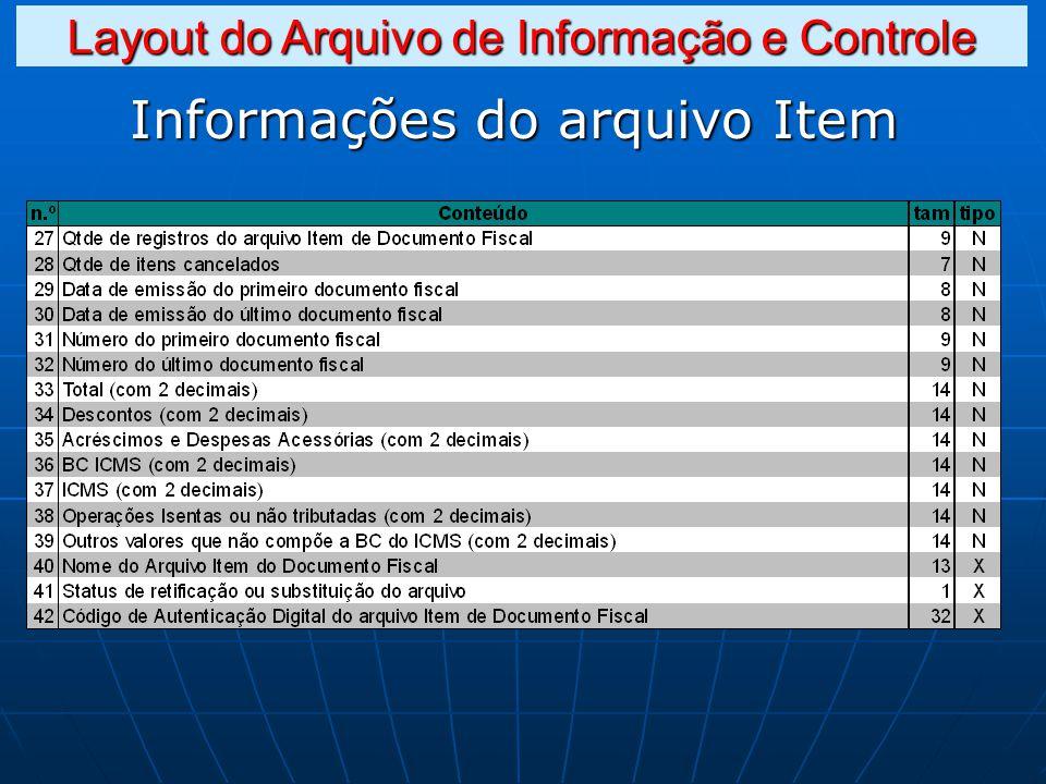 Informações do arquivo Item