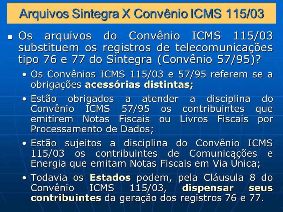 Arquivos Sintegra X Convênio ICMS 115/03
