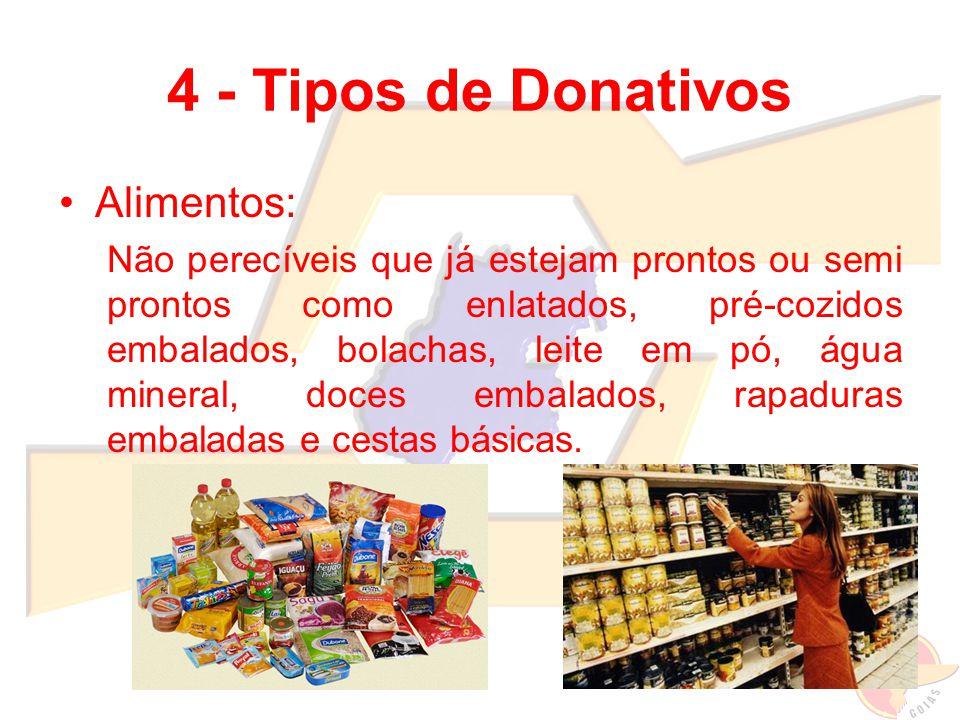 4 - Tipos de Donativos Alimentos: