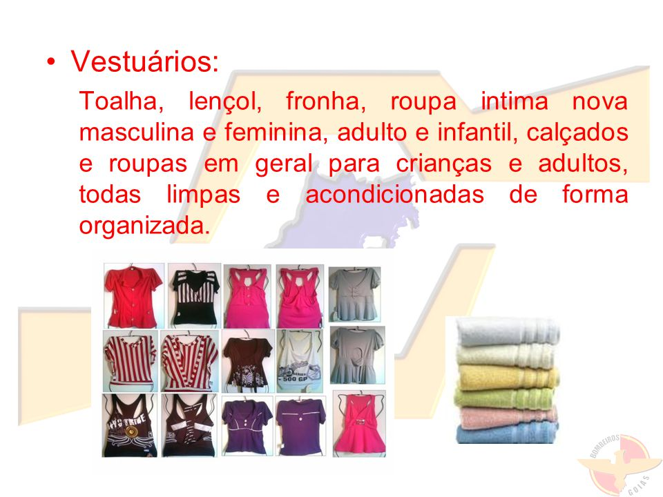 Vestuários: