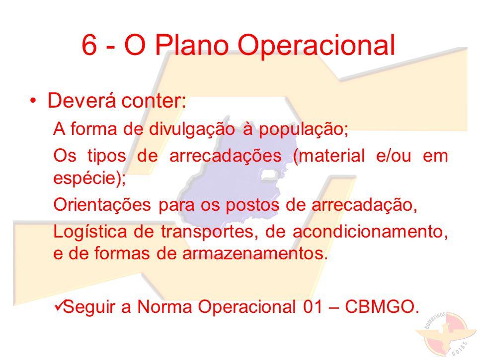 6 - O Plano Operacional Deverá conter: