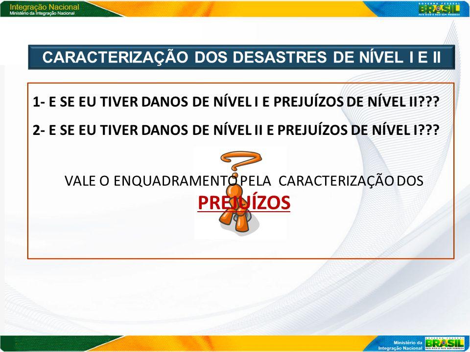 CARACTERIZAÇÃO DOS DESASTRES DE NÍVEL I E II
