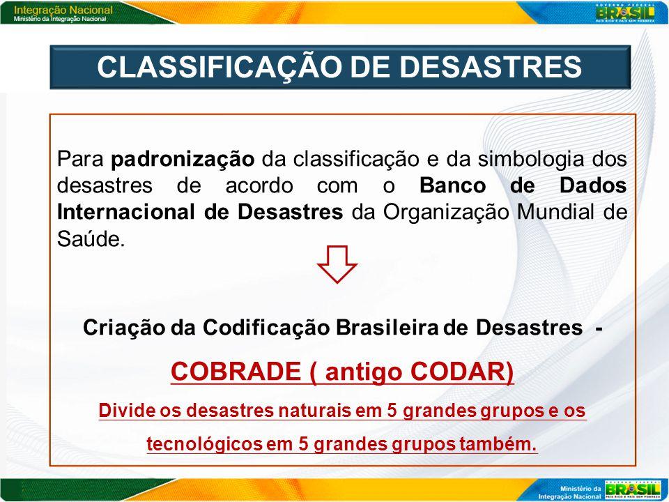 CLASSIFICAÇÃO DE DESASTRES
