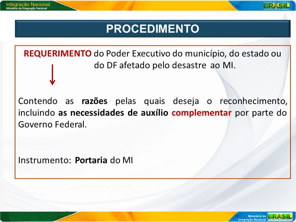 PROCEDIMENTO REQUERIMENTO do Poder Executivo do município, do estado ou. do DF afetado pelo desastre ao MI.
