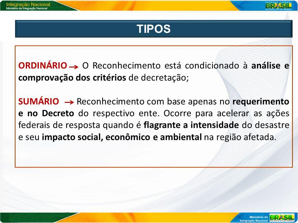 TIPOS ORDINÁRIO O Reconhecimento está condicionado à análise e comprovação dos critérios de decretação;