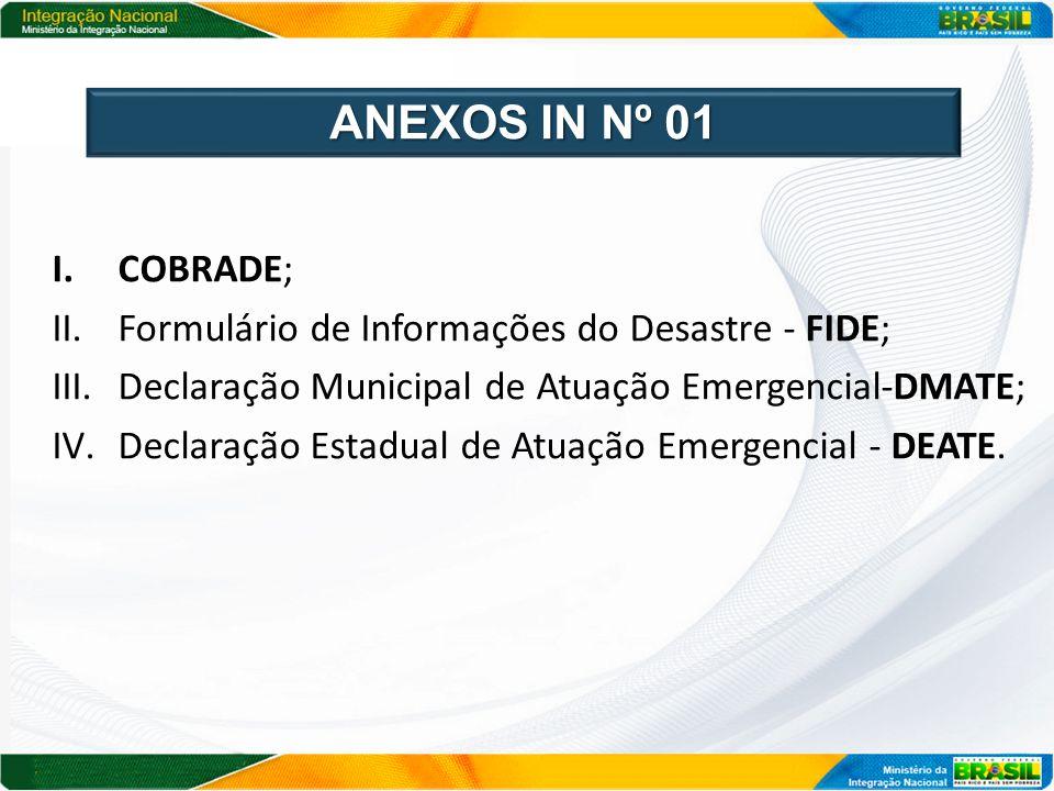 ANEXOS IN Nº 01 COBRADE; Formulário de Informações do Desastre - FIDE;