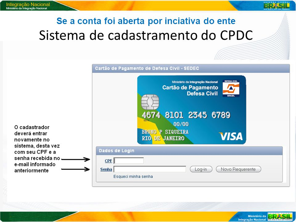 Se a conta foi aberta por inciativa do ente Sistema de cadastramento do CPDC