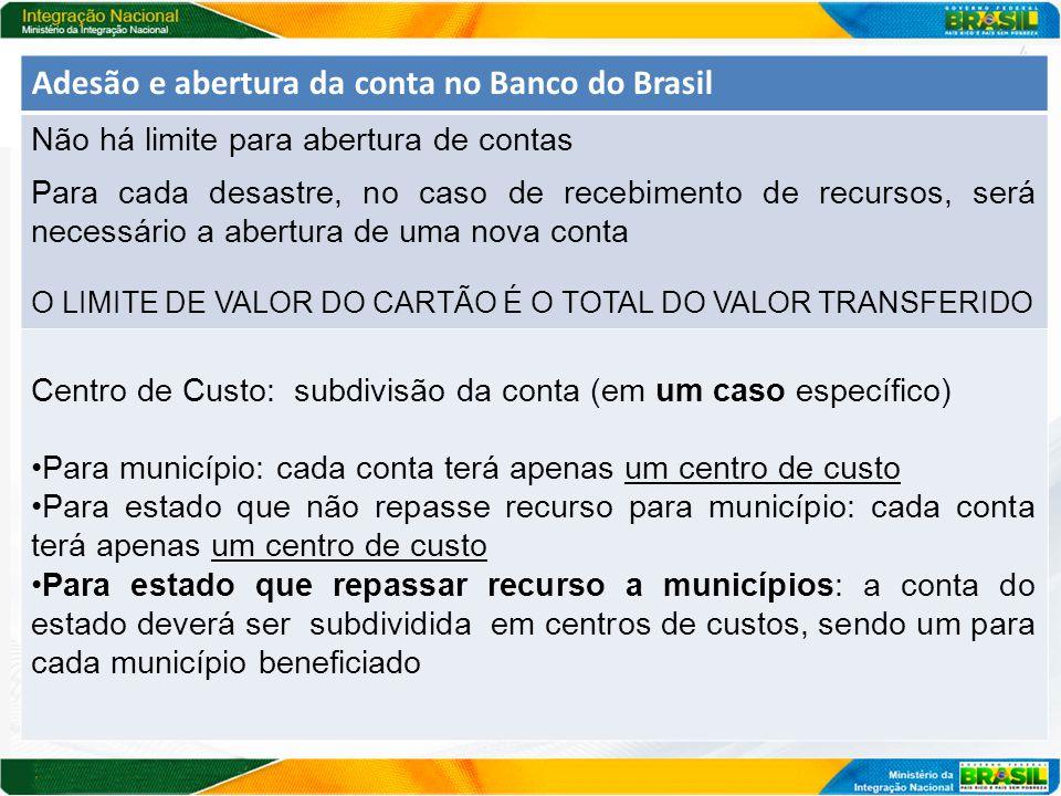 Adesão e abertura da conta no Banco do Brasil