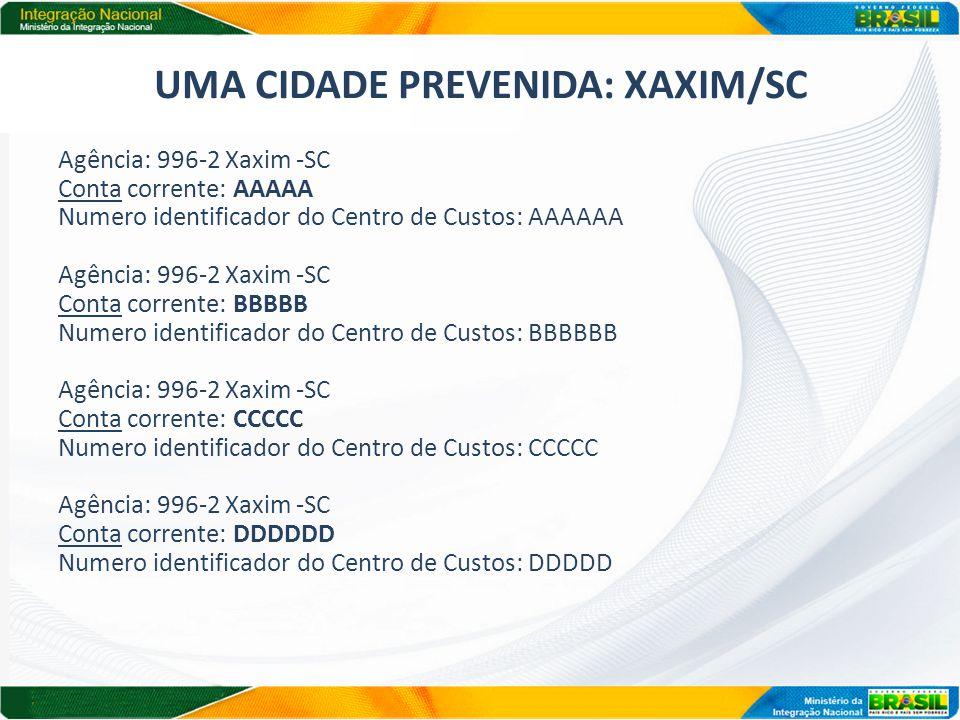 UMA CIDADE PREVENIDA: XAXIM/SC
