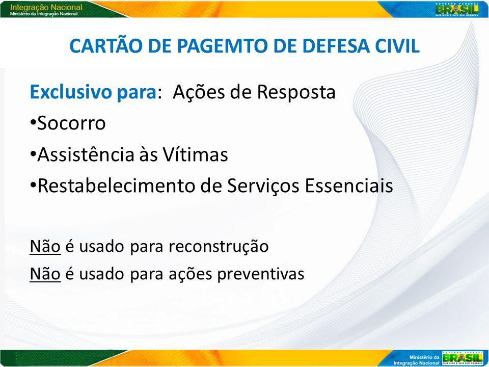 CARTÃO DE PAGEMTO DE DEFESA CIVIL