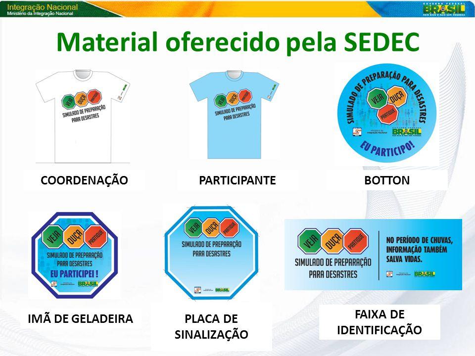 Material oferecido pela SEDEC