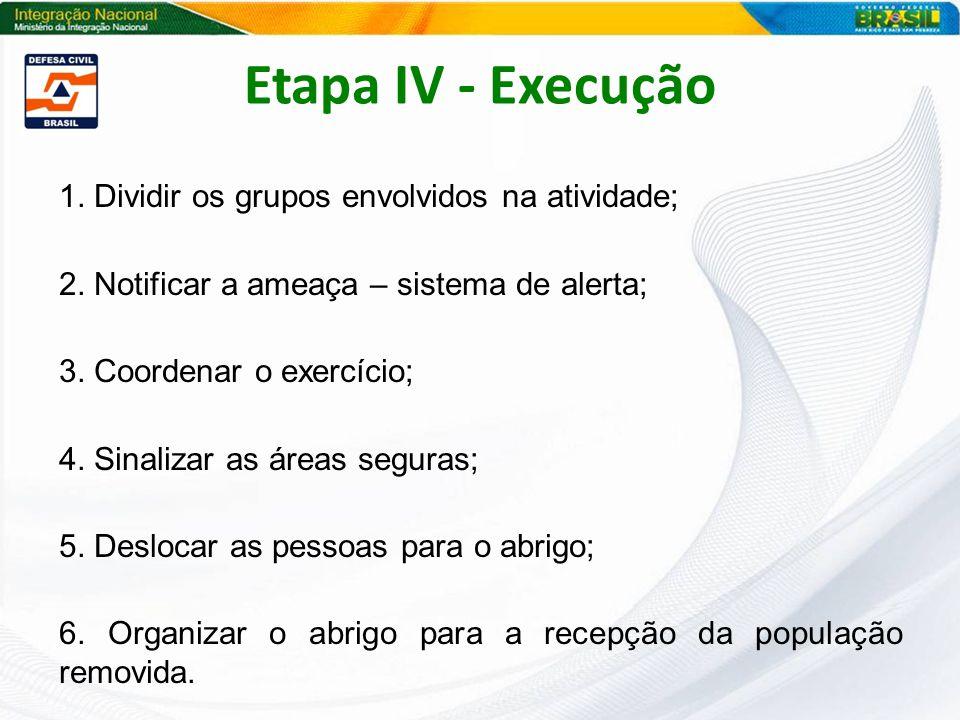 Etapa IV - Execução 1. Dividir os grupos envolvidos na atividade;