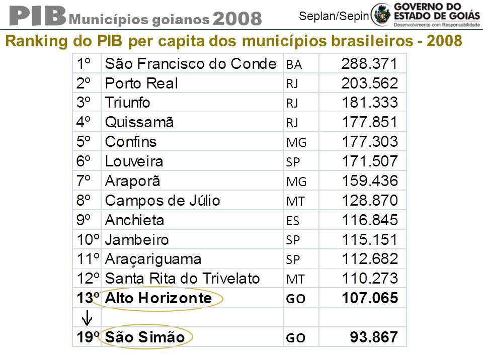 Ranking do PIB per capita dos municípios brasileiros - 2008