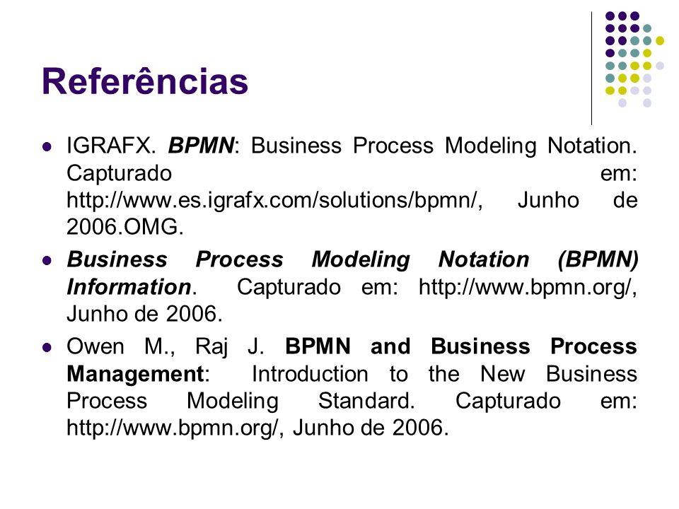 Referências IGRAFX. BPMN: Business Process Modeling Notation. Capturado em: http://www.es.igrafx.com/solutions/bpmn/, Junho de 2006.OMG.