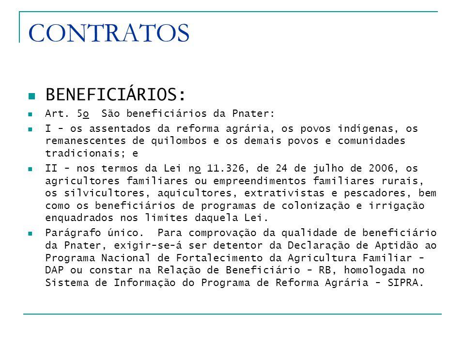CONTRATOS BENEFICIÁRIOS: Art. 5o São beneficiários da Pnater: