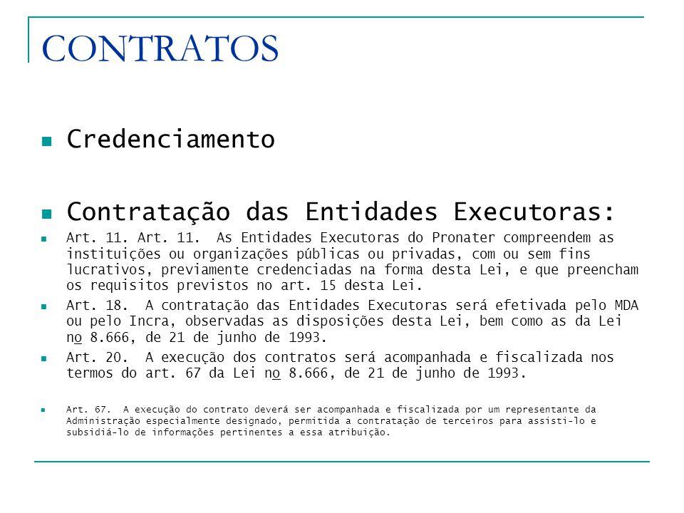 CONTRATOS Credenciamento Contratação das Entidades Executoras: