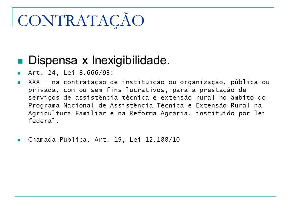 CONTRATAÇÃO Dispensa x Inexigibilidade. Art. 24, Lei 8.666/93: