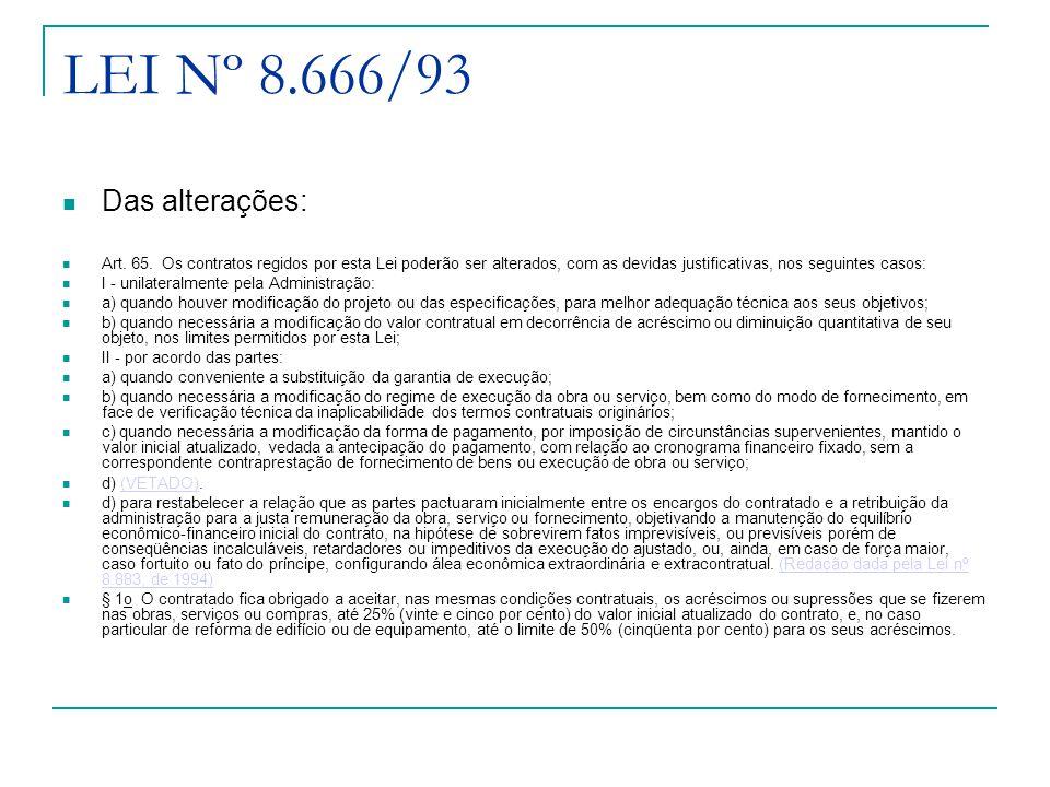 LEI Nº 8.666/93 Das alterações: