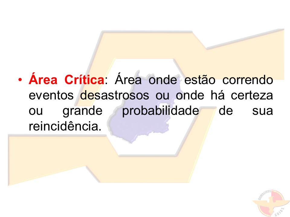 Área Crítica: Área onde estão correndo eventos desastrosos ou onde há certeza ou grande probabilidade de sua reincidência.