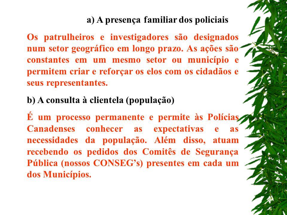 a) A presença familiar dos policiais