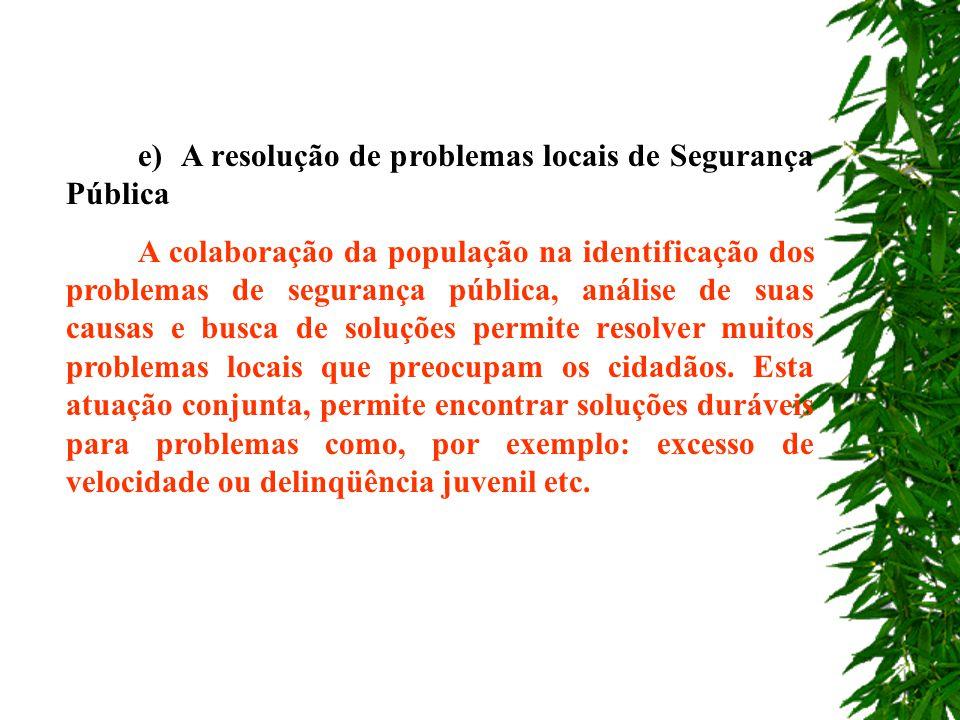 e) A resolução de problemas locais de Segurança Pública