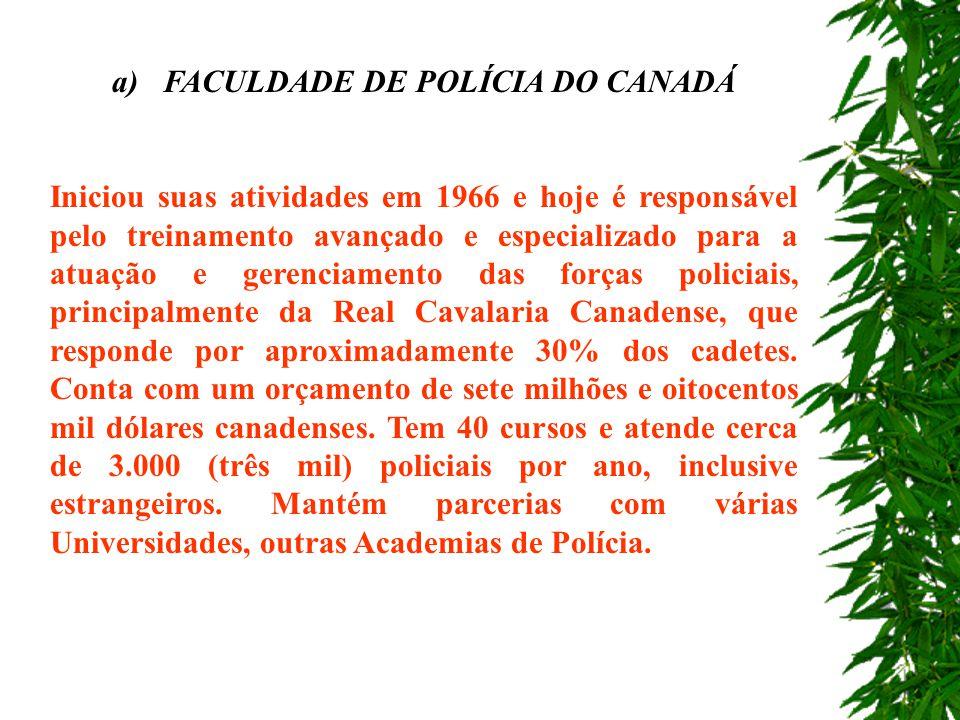 a) FACULDADE DE POLÍCIA DO CANADÁ
