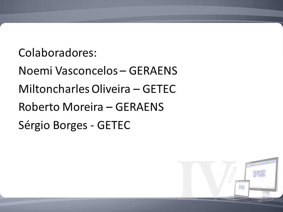 Colaboradores: Noemi Vasconcelos – GERAENS. Miltoncharles Oliveira – GETEC. Roberto Moreira – GERAENS.