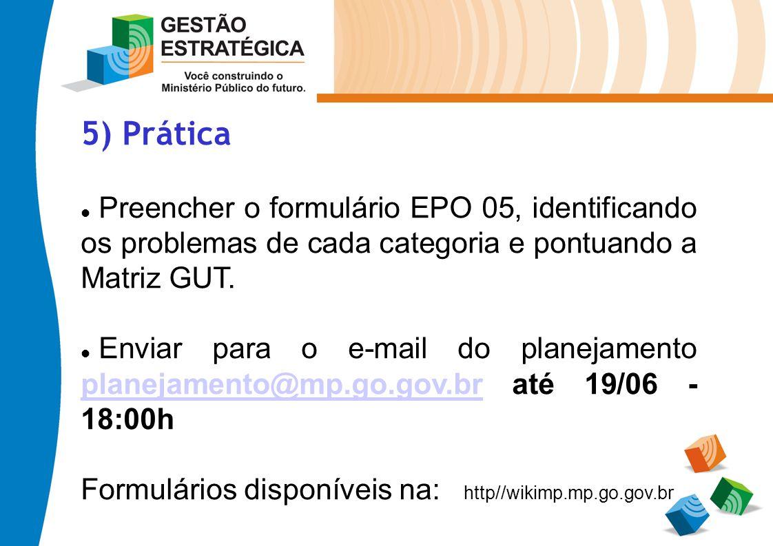 5) Prática Preencher o formulário EPO 05, identificando os problemas de cada categoria e pontuando a Matriz GUT.