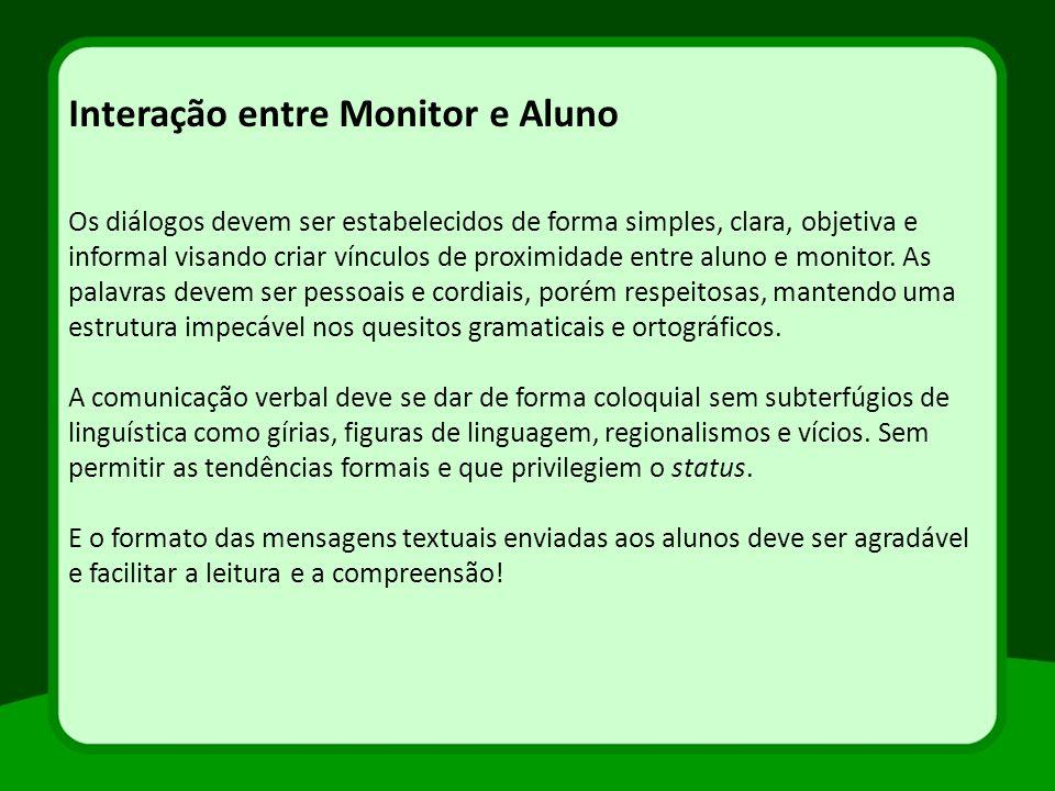 Interação entre Monitor e Aluno