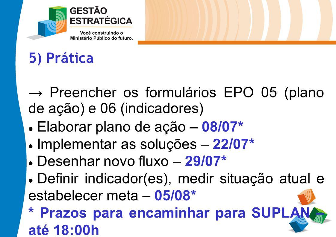 5) Prática → Preencher os formulários EPO 05 (plano de ação) e 06 (indicadores) Elaborar plano de ação – 08/07*