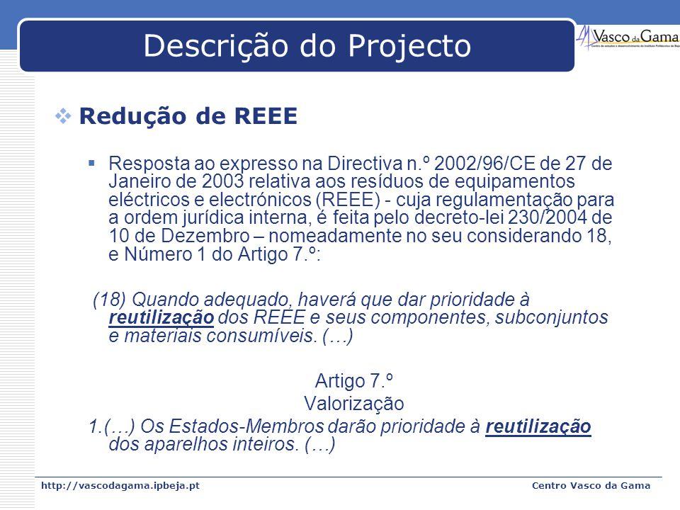 Descrição do Projecto Redução de REEE