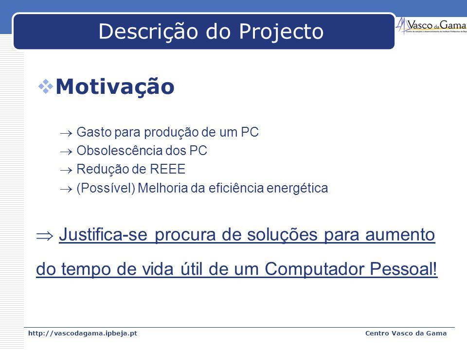 Descrição do Projecto Motivação