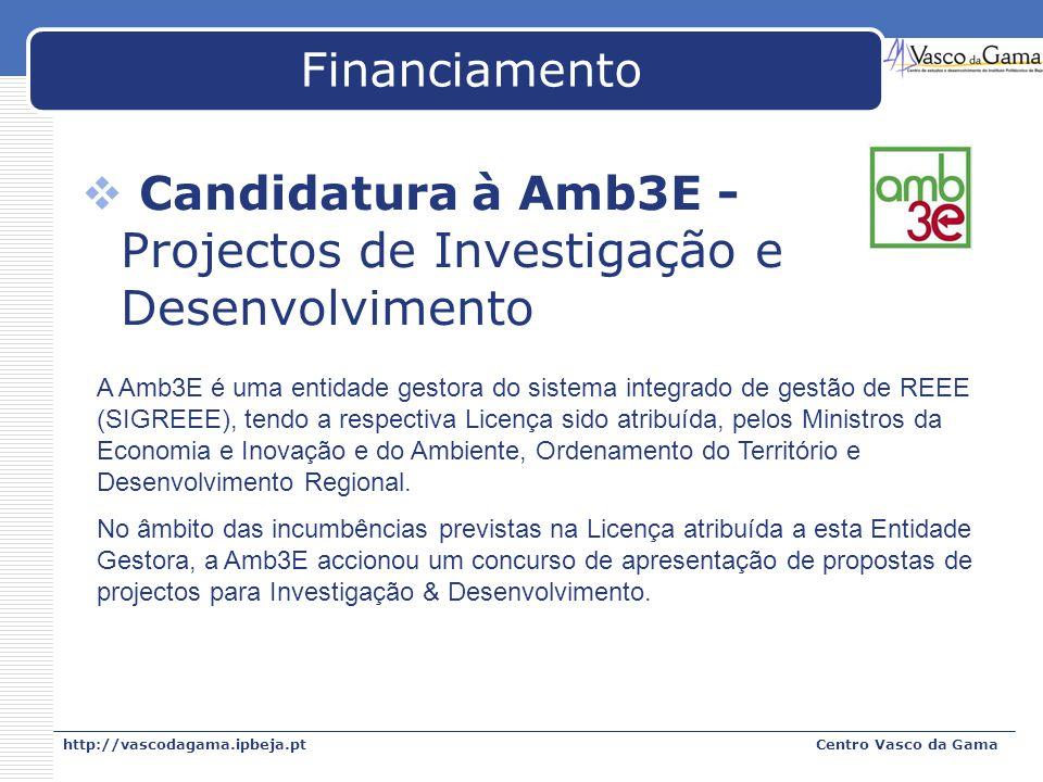 Candidatura à Amb3E - Projectos de Investigação e Desenvolvimento
