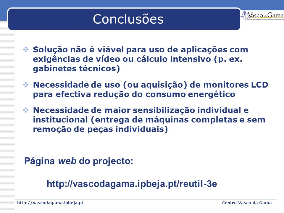 Conclusões Página web do projecto: