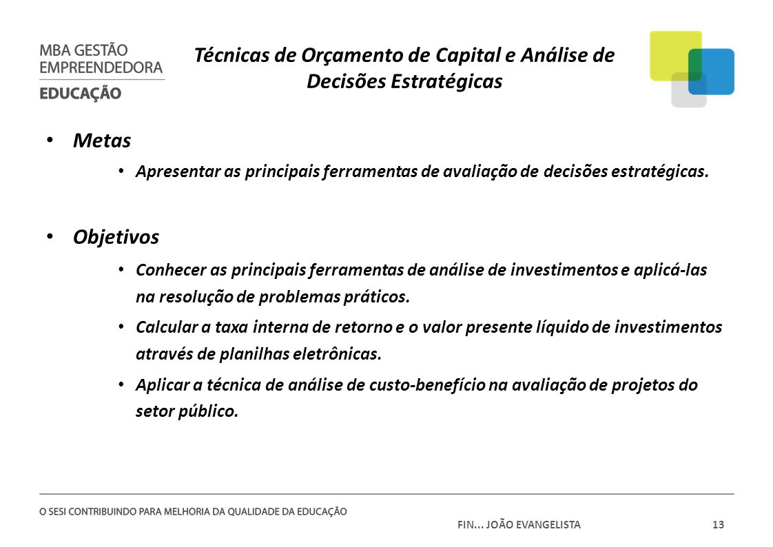 Técnicas de Orçamento de Capital e Análise de Decisões Estratégicas