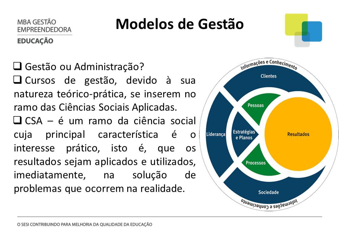 Modelos de Gestão Gestão ou Administração