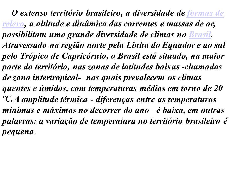 O extenso território brasileiro, a diversidade de formas de relevo, a altitude e dinâmica das correntes e massas de ar, possibilitam uma grande diversidade de climas no Brasil. Atravessado na região norte pela Linha do Equador e ao sul pelo Trópico de Capricórnio, o Brasil está situado, na maior parte do território, nas zonas de latitudes baixas -chamadas de zona intertropical- nas quais prevalecem os climas quentes e úmidos, com temperaturas médias em torno de 20 ºC.
