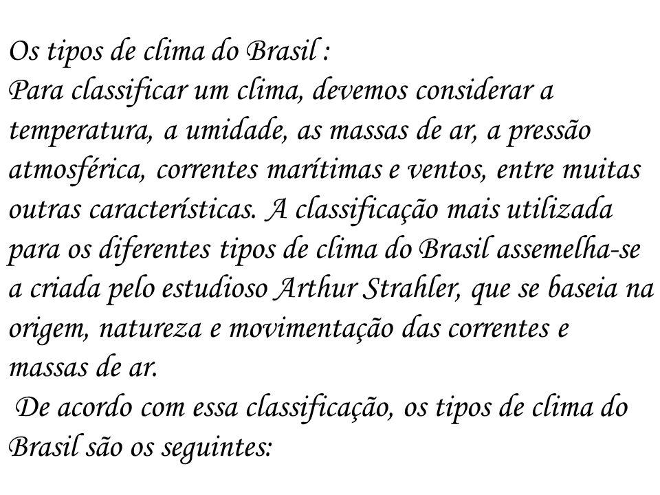 Os tipos de clima do Brasil :