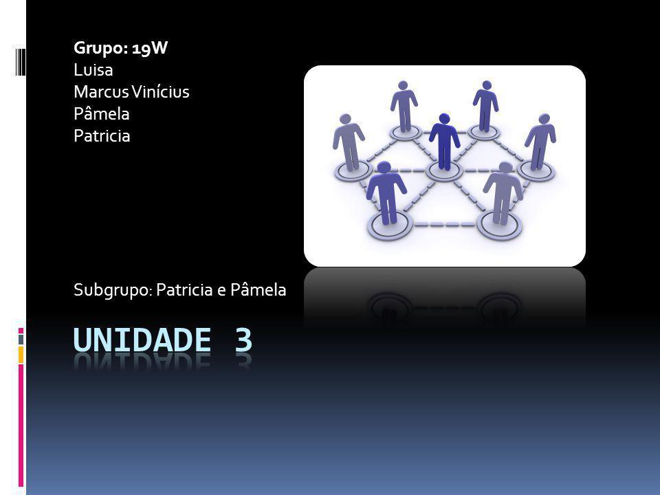 Unidade 3 Grupo: 19W Luisa Marcus Vinícius Pâmela Patricia