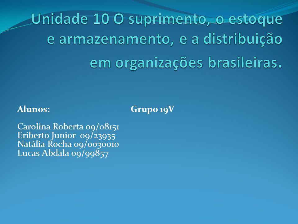 Unidade 10 O suprimento, o estoque e armazenamento, e a distribuição em organizações brasileiras.