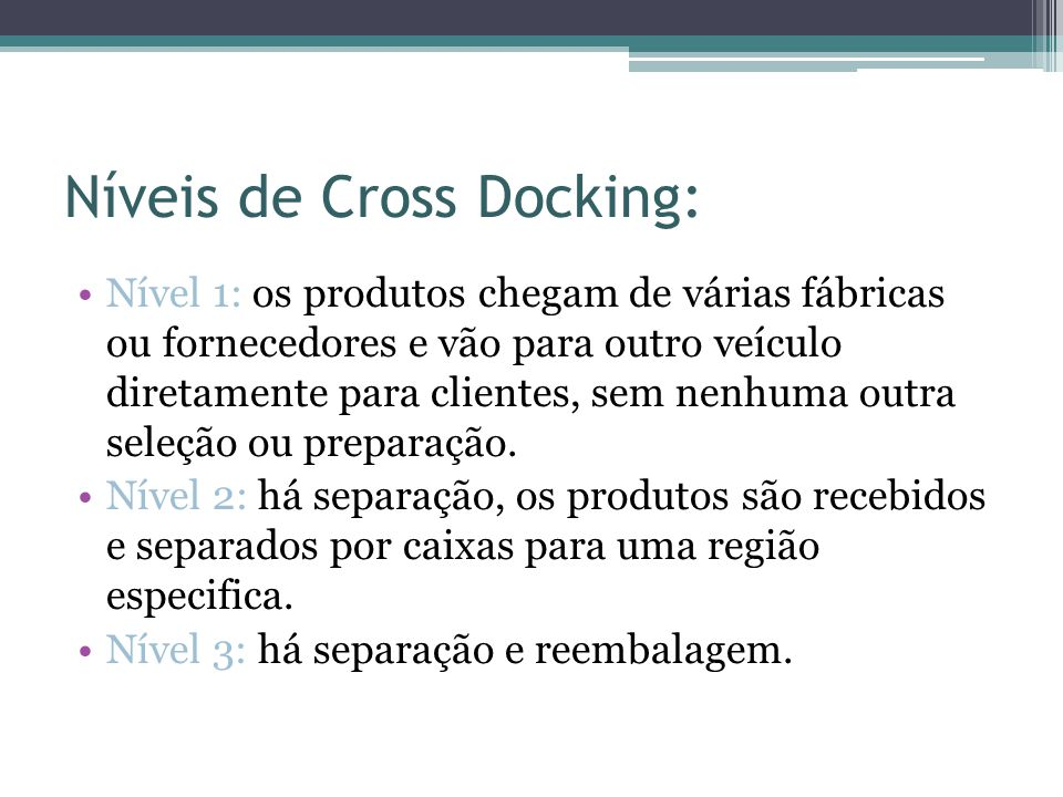 Níveis de Cross Docking:
