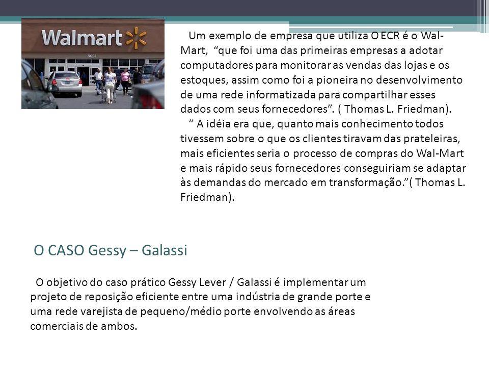 Um exemplo de empresa que utiliza O ECR é o Wal-Mart, que foi uma das primeiras empresas a adotar computadores para monitorar as vendas das lojas e os estoques, assim como foi a pioneira no desenvolvimento de uma rede informatizada para compartilhar esses dados com seus fornecedores . ( Thomas L. Friedman).