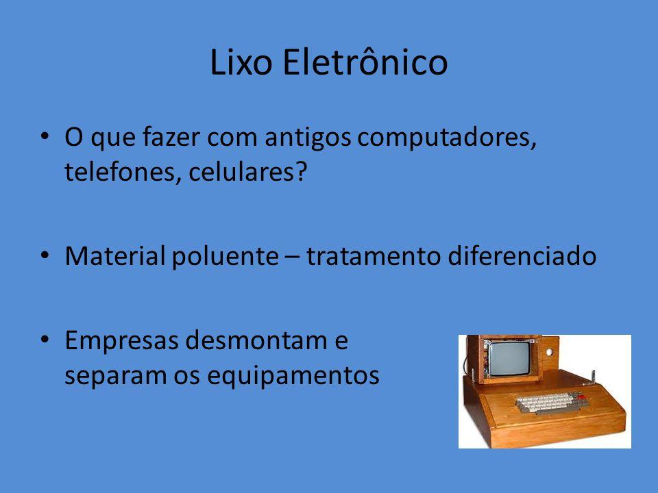 Lixo Eletrônico O que fazer com antigos computadores, telefones, celulares Material poluente – tratamento diferenciado.