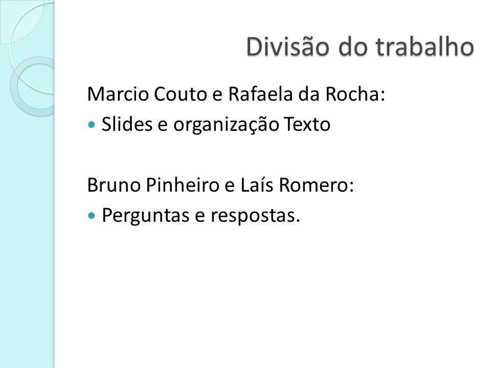 Divisão do trabalho Marcio Couto e Rafaela da Rocha: