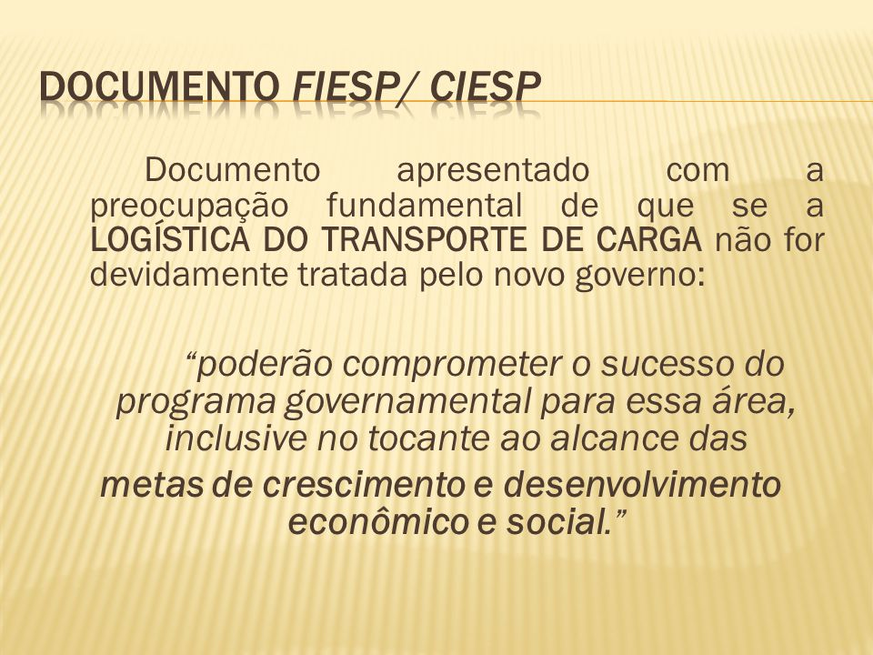 Documento FIESP/ CIESP