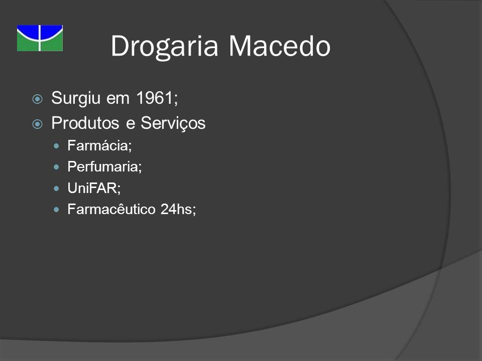 Drogaria Macedo Surgiu em 1961; Produtos e Serviços Farmácia;