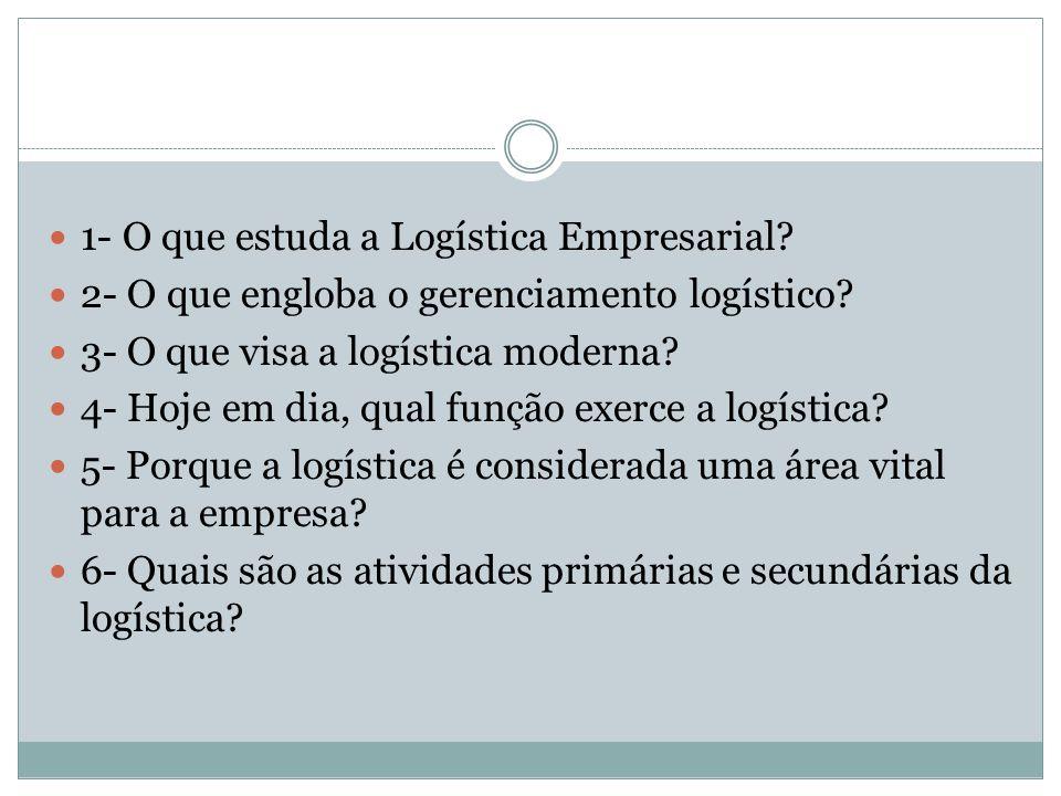 1- O que estuda a Logística Empresarial