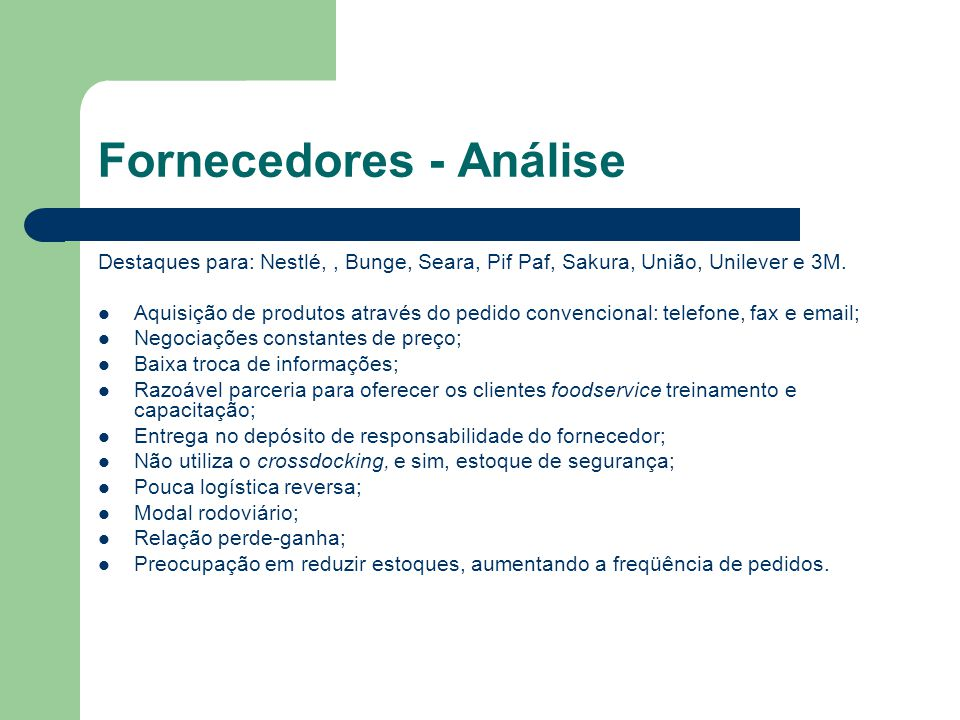 Fornecedores - Análise