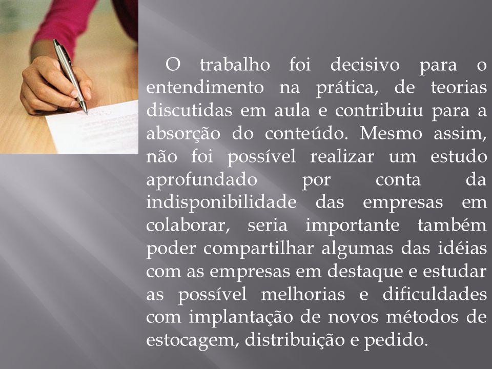 O trabalho foi decisivo para o entendimento na prática, de teorias discutidas em aula e contribuiu para a absorção do conteúdo.